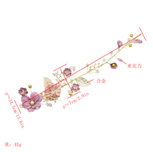 F-0605 New Fashion Lady Sweet Hair Salon With Long Colored Flower Hair Accessories Bridal Headdress Variety Accessories.