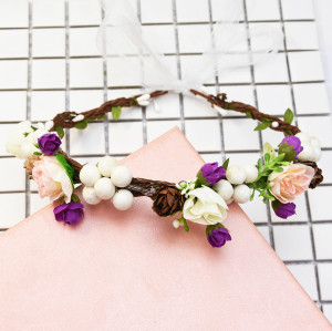 F-0608* Bridal Headdress Wreath Wedding Simulation Flower Headband Mori Girl Vacation Beach Wreath Photo Accessories Jewelry