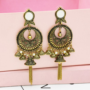 E-5323 Bohemian ethnic retro tassel earrings hollow long carved earrings geometric small lens earrings