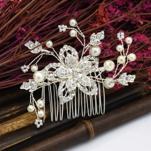 F-0593* New Flower Rhinestone Pearl Hair Comb Hair Clip Lady Wild Bride Bridesmaid Head Jewelry Accessories
