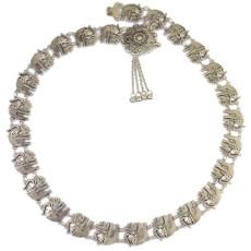N-6538 Bohemian silver fashion elephant body chain bell tassel carved hollow flower belt belly chain