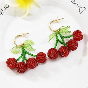 E-5670 sweet red cherry beaded earrings Fashionable transparent green leaf ball tassel fruit earrings models wild