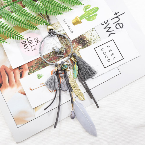 N-6950 Fashion Lady Vintage Tassel Feather Necklace Long Pendant Jewelry for Women