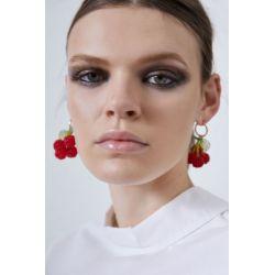 E-5670 sweet red cherry beaded earrings Fashionable transparent green leaf ball tassel fruit earrings models wild