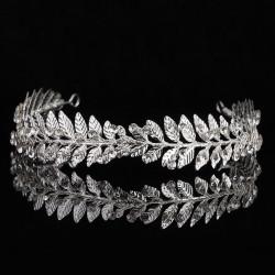 F-0733 Fashion Silver Gold Metal Leaf Crown Tiaras Rhinestone Bridal Headpiece Wedding Hair Accessories