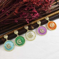 E-5674 Fashionable New 5 Colors Gold Alloy Rhinestone Earring Moon Star Earrings For Woman Jewelry