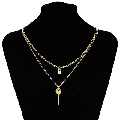 N-7341 Keys and Locks Two Golden Smooth Necklaces Couple Accessories