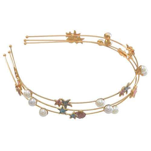 F-0734 Fashion 3pcs/Set Gold Starfish and Shell Style with Pearl Headband Hair Jewelry Accessories