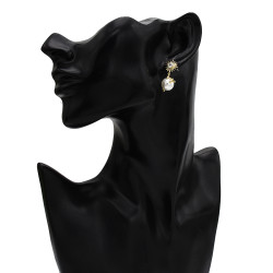 E-5680 Pearl pendant  925 Stud earrings fashion simple personality flower diamond elegant delicate ladies earrings.