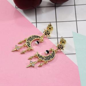 E-5682 925 Silver Stud earrings with Rhinestone simulated pearl moon star shape Gold dangle earrings