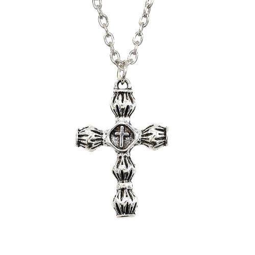 N-7346 Vintage Fashion Gold silver Metal Eagle cross Pattern Punk necklace Jewelry