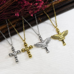 N-7346 Vintage Fashion Gold silver Metal Eagle cross Pattern Punk necklace Jewelry