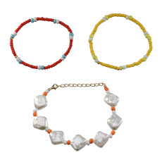 B-1015 3 Pcs/Set Boho Style Beads and Pearl Adjustable Bracelets For Women Charming Jewelry Accessory