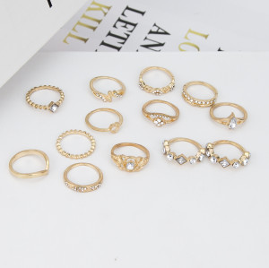 R-1520 New Ladies Jewelry Gift Fashion Trend Golden Gold Double White Diamond Bamboo Thirteen Set Ring.