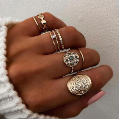 R-1522 3 Styles Boho Midi Finger Rings Set for Women Hollow Out Heart Snake Shape Rings Fashion Jewelry