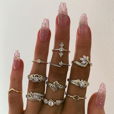 R-1521 2 Styles Boho Fashion Finger Rings Set Hollow Out Heart Snake Shape Rings Fashion Jewelry for Women
