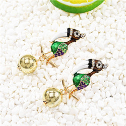E-5688 Cute Bird Earring Rhinestone Drop Dangle Earrings for Woman