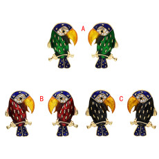 E-5689 Cute Gold Animal Parrot Shape Earrings with Rhinestone Stud Earrings For Womem Girl Gifts