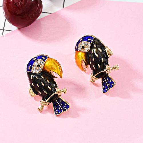 E-5689 Cute Gold Animal Parrot Shape Earrings with Rhinestone Stud Earrings For Womem Girl Gifts