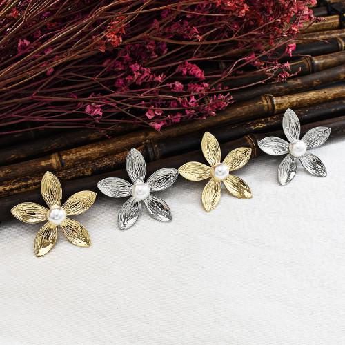 E-5690 New Fashion Gold Silver Inlaid Pearl Earrings Personalized European Flower Earrings
