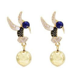 E-5691 3 Colors Enamel Birds Drop Earrings for Women Girl Gold Round Ball Earring Party Jewelry
