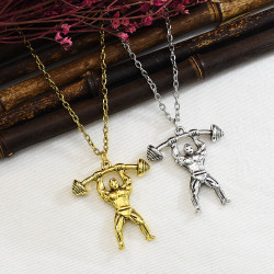 N-7348 Fitness Figure Pendant Sports Necklace