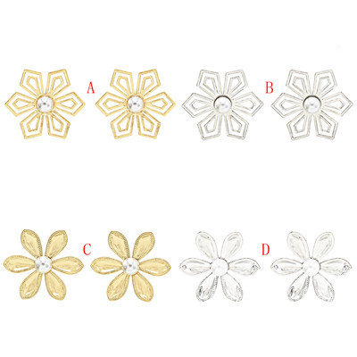E-5692 Fashion Gold Silver Inlaid Pearl Flower Earrings  Jewelry Accessories