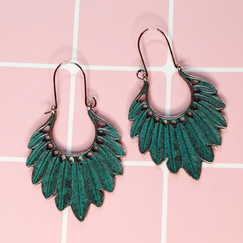 E-5693 2 Style Of Leaf Drop Earrings Bohemian Vintage Gold Green Long For Women Accessories.