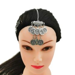 F-0742 Turkish Silver Metal Coin Tassel Charm Forehead chain For Women Bohamian Belly Dance Gypsy India Tribal Bridal Hair Jewelry