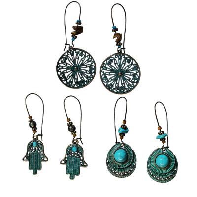 E-5694 Bohemian Vintage Green Drop Earrings Long Ladies Accessories