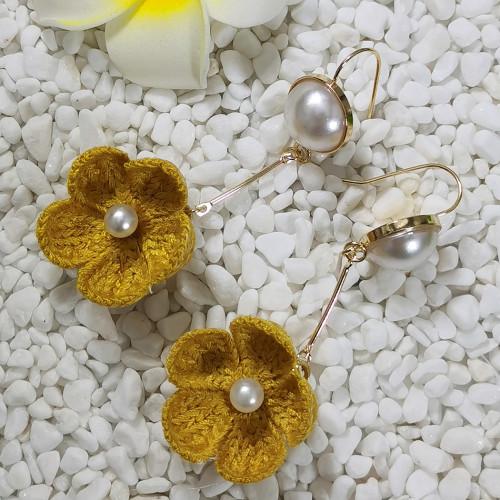 E-5695 5 Colors Cute Handmade Wool Flowers Hook Earrings