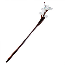 F-0744 Classic White Acrylic Flower Wooden Hair Sticks for Women Wedding Party Hair Accessories