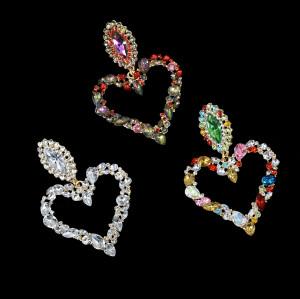 E-5697 Crystal heart pendant drop earrings geometric heart diamond ladies earrings heart love wedding engagement anniversary earrings birthday gift.