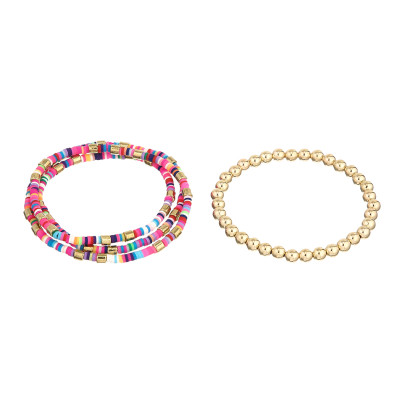B-1017 2PCS/Set Boho Style Colorful Beads Adjustable Multi-layer Bracelets For Women Charming Jewelry Accessory