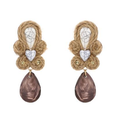 E-5698 Vintage Woven Straw Rope Dark Crystal Pendant Earrings Rhinestone Pattern Jade Earrings