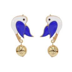 E-5701 4 Colors Cute Enamel Birds Drop Earrings for Women Girl Summer Party Jewelry