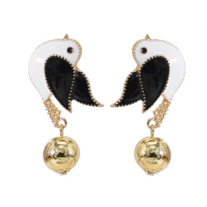 E-5701 4 Colors Cute Enamel Birds Drop Earrings for Women Girl Summer Party Jewelry