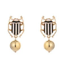 E-5702 3color Cartoon cute Insect beetle bead drop earrings summer Spring Jewelry