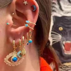 E-5685 11PCS/Set Gold Alloy Star Moon Shell Shape Drop Earrings Rhinestone Pearl Eye Earring Women Beach Jewelry