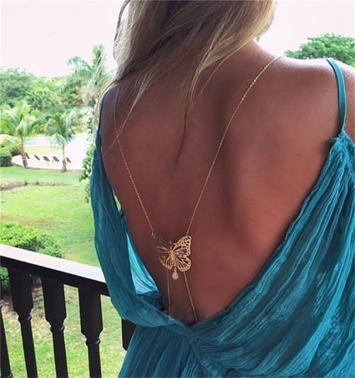N-6367New fragrance shoulder back dish butterfly pearl tassel water drop gem sexy body chain