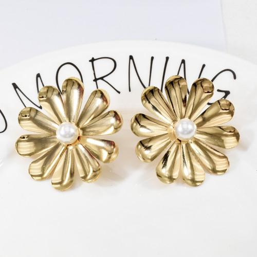 E-5703 Fashion Metal Style Gold and Silver Two Flower Pearl Earrings Simple Urban Beauty Earrings