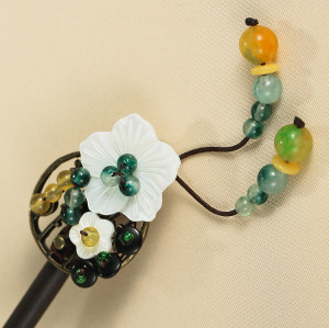 F-0747 Retro 2 Style with Acrylic Flower Beads Rhinestone Wooden Hair Sticks for Women Hair Accessories