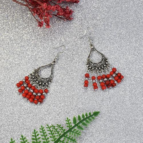E-5704 Ethnic Style Earrings Long Tassel Beaded Hook Earrings