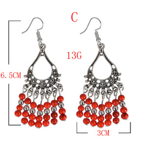 E-5704 Ethnic Style Earrings Long Tassel Beaded Hook Earrings