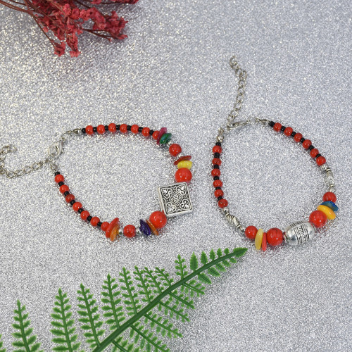 B-1018 Red Beads Adjustable Chain Bracelet for Woman