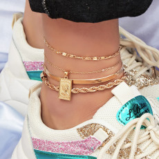 B-1019 Modyle 4 pieces / set of personalized quadrilateral square leg bracelet jewelry stainless steel anklet friendship gift initial anklet.