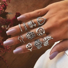 R-1523 4 Styles Boho Fashion crystal Finger Rings Set Hollow Out Leaves star Shape Rings couples Jewelry