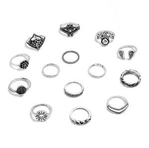 R-1524 2 Styles Boho Fashion Crown Geometry Triangle Love Moon Cross Ring Leaf Flower V-shaped Totem Ring Set