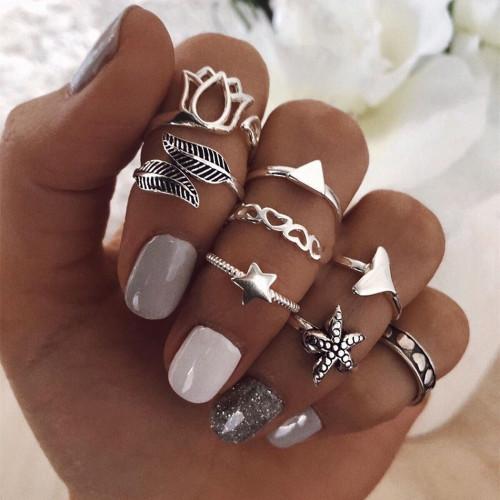 R-1525 3 Style Bohemian Retro Joint Nail Ring Set Finger Ring Punk Ring Gift