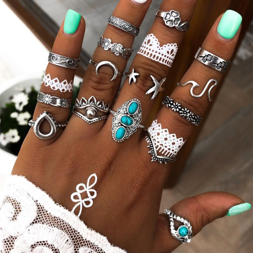 R-1526 3 Style Bohemian Vintage Women with Turquoise Joint Knuckle Nail Ring Set Finger Rings Punk Ring Gift